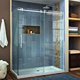 DreamLine SHEN-6434600-07 Enigma Air 60-3/8 In. W x 34-3/4 In. D Frameless Shower Enclosure In Brushed Stainless Steel