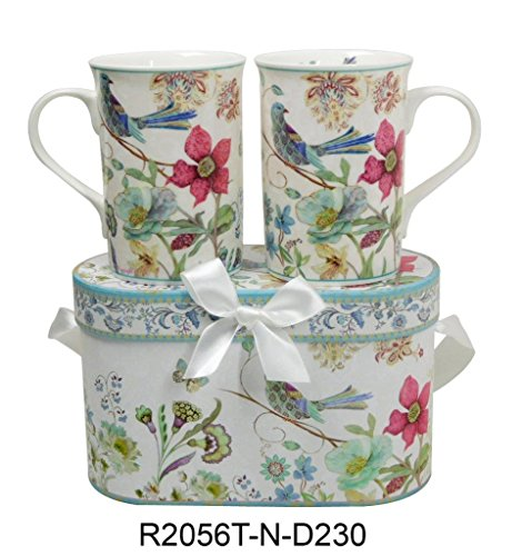 Lightahead Elegant Bone China Two Mugs set in Blue bird design 11.2 oz each cup in attractive gift box