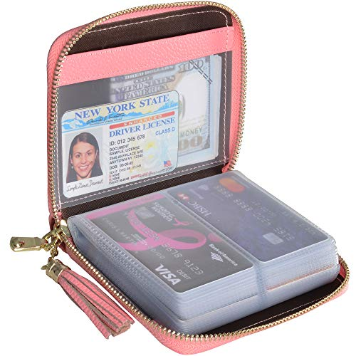 Easyoulife Womens Credit Card Holder Wallet Zip Leather Card Case RFID Blocking (Pink)