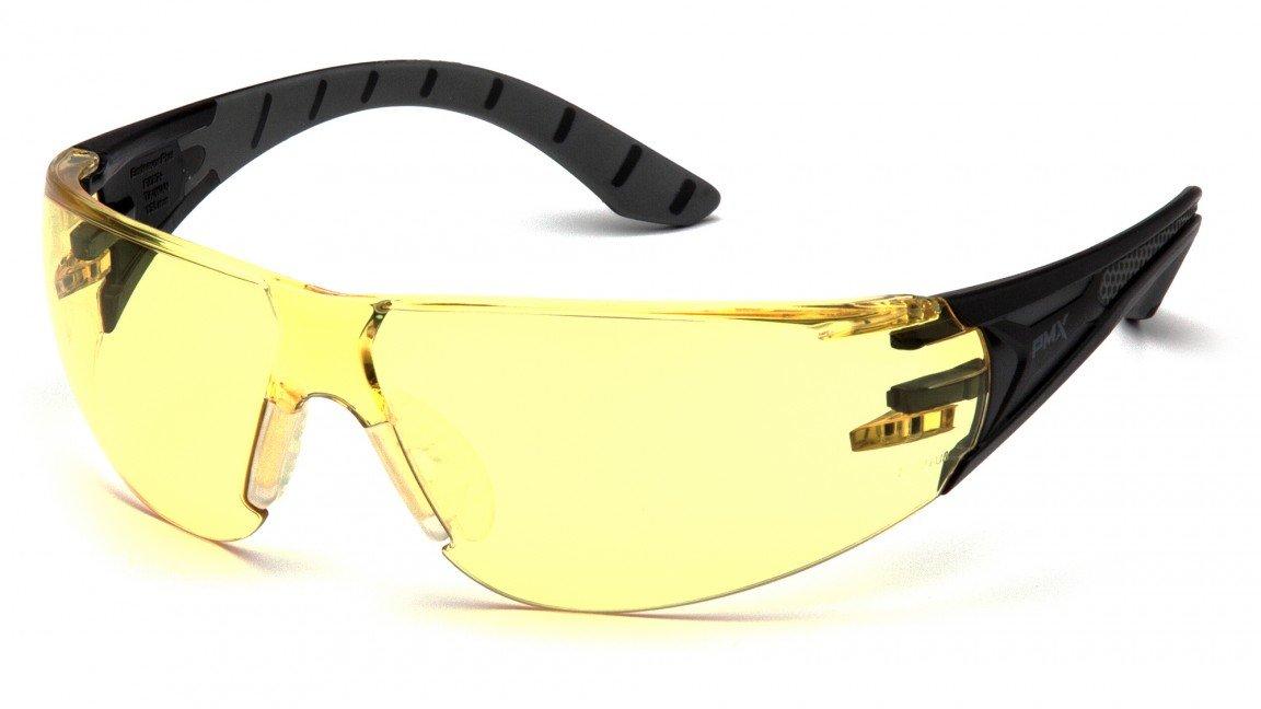 Pyramex安全Endeavor Plus耐久性安全メガネ Black/Grey Frame, Amber Lens B06XDVG3YK