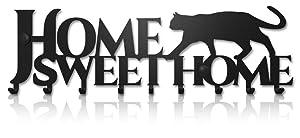 Key Holder for Wall Home Sweet Home Cat (9-Hook Rack) Decorative, Metal Hanger for Front Door, Kitchen, or Garage | Store House, Work, Car, Vehicle Keys | Vintage Decor