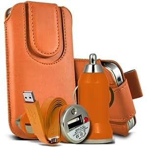 Sony Xperia S Lt26i premium protección PU botón magnético ficha de extracción Slip In Pouch Pocket Cordón piel cubierta de la caja de la cubierta rápida, Bullet Rápido Cargador USB para coche con luz LED y de carga Super Fast 1 metro plana de transferencia de datos cable de sincronización de Orange por Spyrox