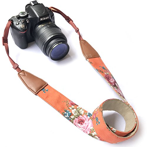 Camera Neck Shoulder Belt Strap,Alled Cowhide Vintage Print