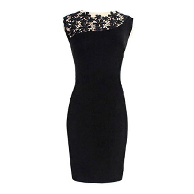 Vestidos mujer Mini vestidos atractivos - Hibote Vestidos sin mangas de corte slim Vestido de encaje