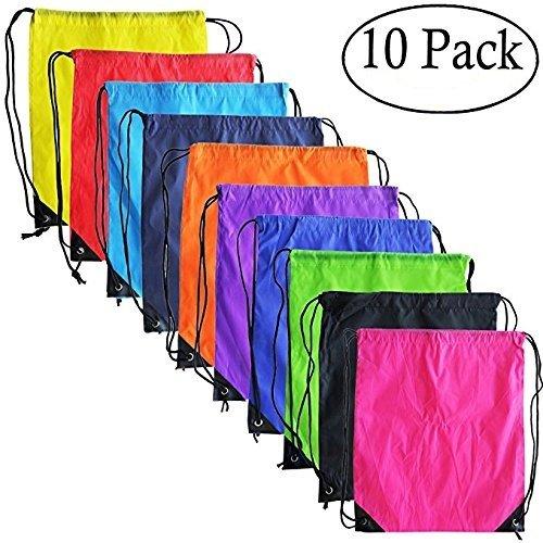 10 Colors Drawstring Backpack Bags Sack Pack Cinch Tote Kids Sport Storage Polyester Bag for Gym Traveling KisSealed