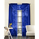"""Luxury Discounts Beautiful Elegant Solid Royal Blue Sheer Scarf Valance Topper 38"""" X 216"""" Long Window Treatment Scarves"""