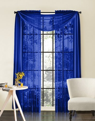 Luxury Discounts Beautiful Elegant Solid Royal Blue Sheer Scarf Valance Topper 38
