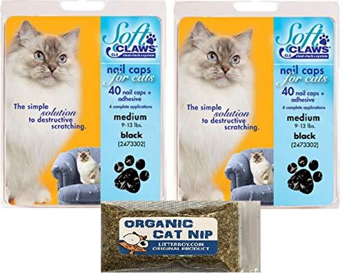 Soft Claws Medium Black Cat Nail Caps-2 pack PLUS Litterboy Organic Catnip by Soft Claws