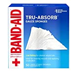 Band-Aid Brand Of First Aid Products Mirasorb Gauze Sponges For Cleaning Wounds, 4 Inches By 4 Inches, 50 Count