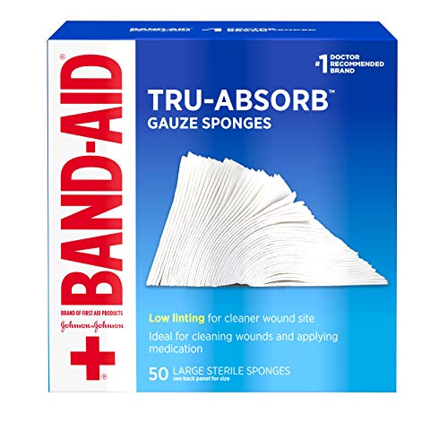 (Band Aid Brand First Aid Products Tru-Absorb Gauze Sponges for Cleaning Wounds, 4 in x 4 in, 50 ct)