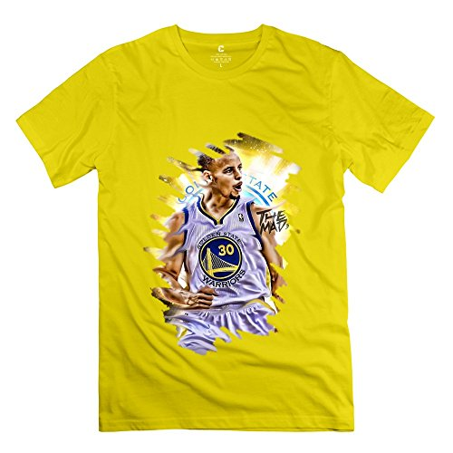 Popular NBA 2015 MVP Golden State Warriors Stephen Curry Men's Tshirt Yellow Size XS