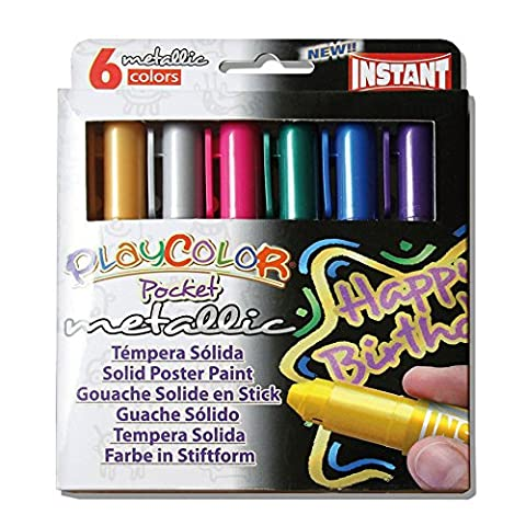 Jack Richeson PlayColor Pocket Thin Solid Poster Paints, 6 Metallic Colors