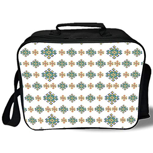 Insulated Lunch Bag,Celtic Decor,Pastel Colored Unique Geometric Hexagon Celtic Motifs on White Background Irish Artful Print,Multi,for Work/School/Picnic, Grey