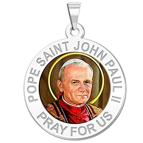 PicturesOnGold.com Pope Saint John Paul II Religious Medal Color - 3/4 Inch Size of a Nickel -Sterling Silver WITH ENGRAVING John Paul Medal