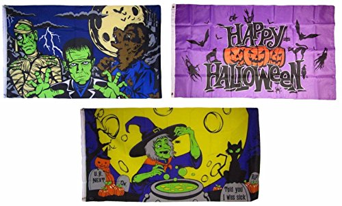 ALBATROS 3 ft x 5 ft Happy Halloween 3 Pack Flag Set #19 Combo Banner Grommets for Home and Parades, Official Party, All Weather Indoors -