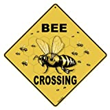 Crossings by Tom's Bird Feeders Bee Crossing 12'' X 12'' Aluminum Sign,Caution Yellow