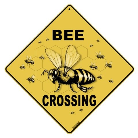 Crossings by Tom's Bird Feeders Bee Crossing 12'' X 12'' Aluminum Sign,Caution Yellow by Atlas Screen Printing