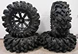Bundle - 9 Items: MSA Black Kore 14'' UTV Wheels 30'' Intimidator Tires [4x137 Bolt Pattern 12mmx1.5 Lug Kit]