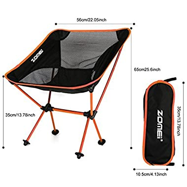Generic Portable Ultralight Indoor and Outdoor Camping / Picnic / Fishing Folding Sports Aluminium Alloy Chairs Ground Sketch Chair(Orange)