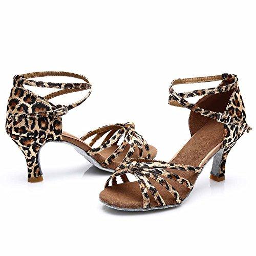 HROYL Zapatos de baile/Zapatos latinos de satén mujeres ES7-F17 7CM Leopardo