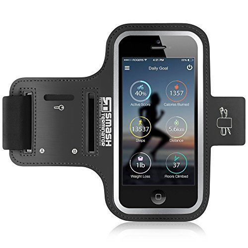 iPhone 5 5S 5C SE 4S 4 Running Armband, Lycra, Sweatproof Layer, Reflective Strip Adjustable Neoprene Sports Gym Case with Key Holder Slot (As Seen in Runners World Mag. - 5 Stars)