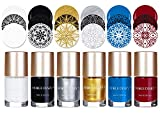 nail stamp polish - NICOLE DIARY 6Pcs Nail Stamping Gel Polish Lacquer Gold Silver White Black Red Blue Nail Plate Polish Varnish for Manicure Printing