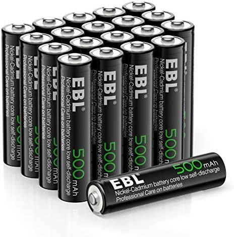 EBL AAA Rechargeable Batteries 1.2V 500mAh Triple AAA NiCd Battery Nicad Solar Battery - 20 Pack