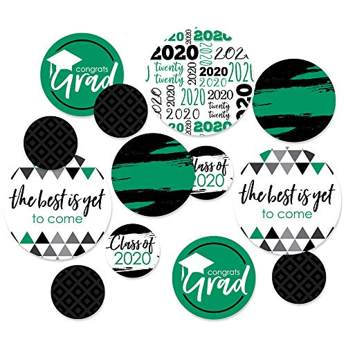 Big Dot of Happiness Green Grad - Best is Yet to Come - 2020 Graduation Party Giant Circle Confetti - Green Grad Party Decorations - Large Confetti 27 Count