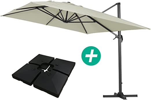 Parasol Lateral de jardín en Aluminio - Sun 4- Rectangular- 3 x 4 m -Crudo- lastre Incluido: Amazon.es: Jardín