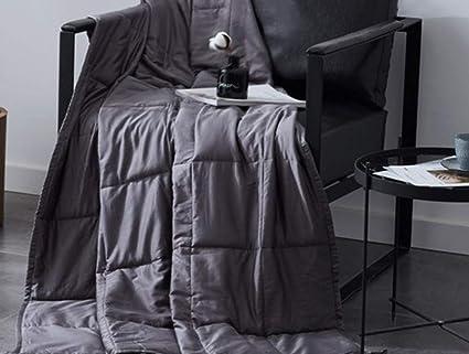 LZHDAR Manta Ponderada, Algodón Gris 4100 * 150Cm con Diseño De Cremallera Oculta Aumenta La