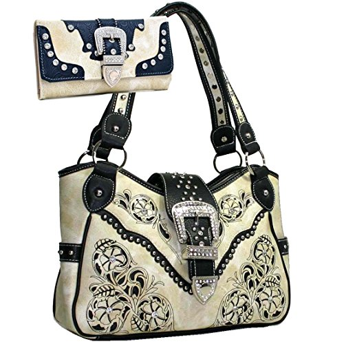 Western Rhinestone Studs Buckle Floral Embroidered Handbag Purse With Matching Wallet - Beige