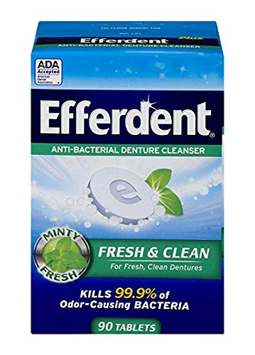 (Efferdent Plus Mint Anti-Bacterial Denture Cleanser | 175 Tablets | Actively Cleans Between Dentures | Packaging May Vary (175 Count))