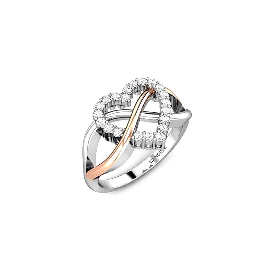 925 Sterling Silver 14k Gold 015 Ctw Round Cut Diamonds Heart