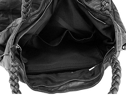 Fashion Genuine Body LQT Tote Bag Black Cross Large Handbag Retro Leather Shoulder Women's OqwT5BSU
