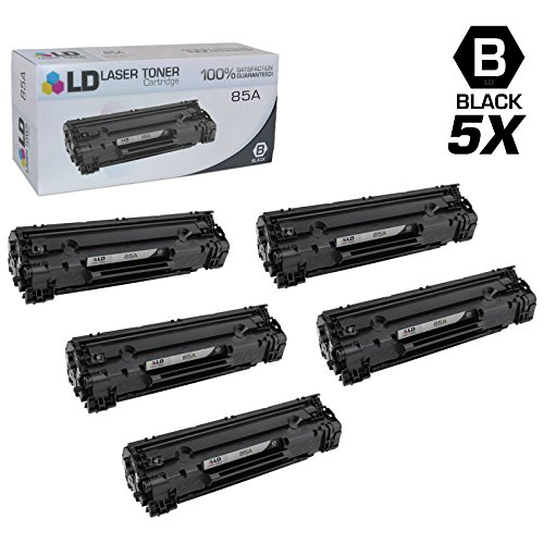 LD © Compatible Replacements for Hewlett Packard CE285A (HP 85A) Set of 5 Black Laser Toner Cartridges for use in HP LaserJet Pro M1132, M1212nf, M1217nfw MFP, P1102, and P1102W Printers
