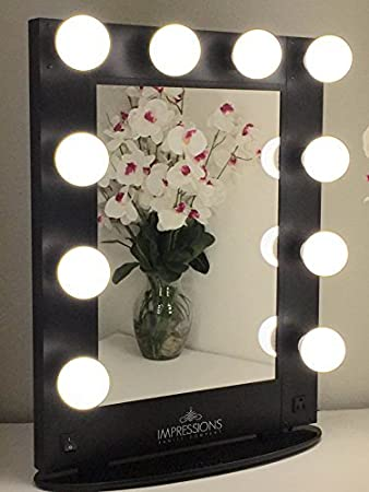 Impressions Vanity KW GLAM B Hollywood Glam Vanity Mirror with LED Bulbs   Black. Amazon com  Impressions Vanity KW GLAM B Hollywood Glam Vanity