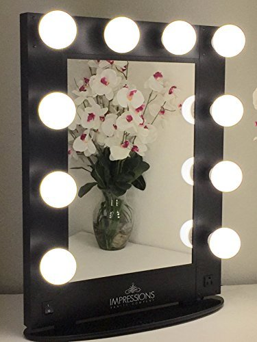 Impressions Vanity KW-GLAM-B Hollywood Glam Vanity Mirror with LED Bulbs, Black by Impressions Vanity