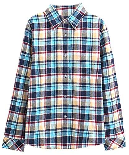 Littler Store Women's Casual Long Sleeve Cotton Fashion Plaid Shirts - Ladies Plaid Highland Pant