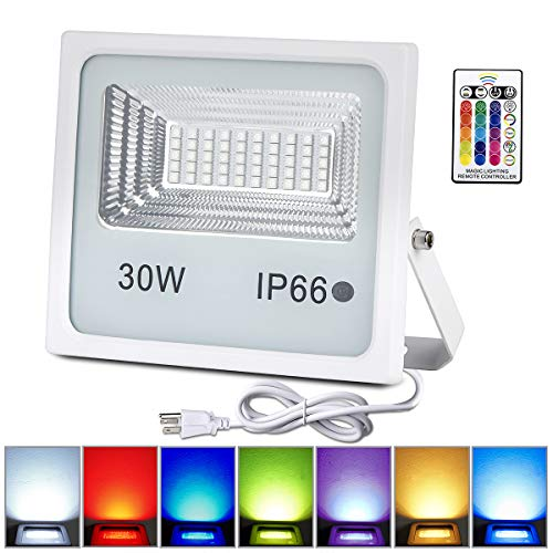 LED Flood Lights,30W RGB Floodlight with Remote Control,IP66 Waterproof Dimmable Color Changing Spotlight,16 Colors 4 Modes Stage Light for Outdoor Decorative Garden Stage Landscape Lighting 1Pack