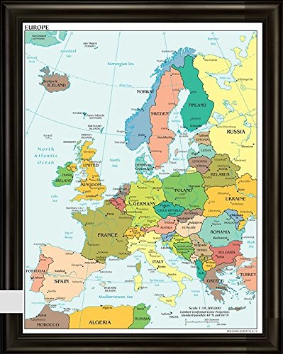 "Europe Push Pin Travel Map 24"" x 36"" - with Espresso Finish"