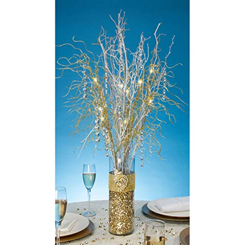 Tree Branch Gold (Darice Tutera 30-Inch  12 LED Lighted Branch Spray, Gold)