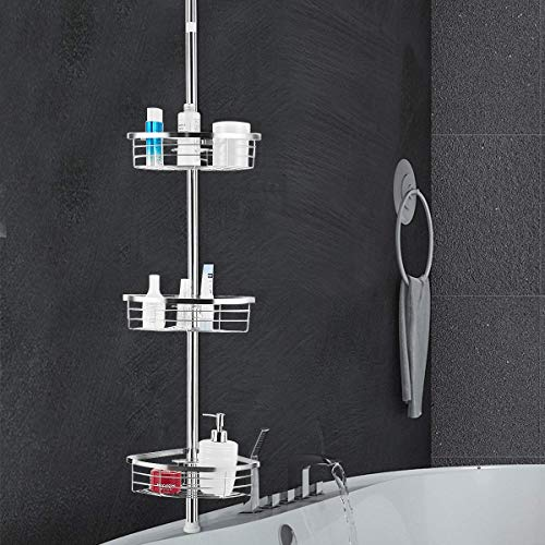 Tangkula Tension Corner Shower Caddy, Rustproof Stainless Steel Shower Caddy Pole, 3 Positionable Shelves, Pole Height Adjustable from 7 Feet to 9 Feet
