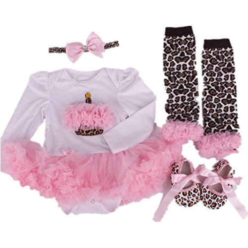 Starkma Baby Girls 4PCs Zebra First Birthday Tutu Dress Headband Leggings (Zebra Tutu With Headband)