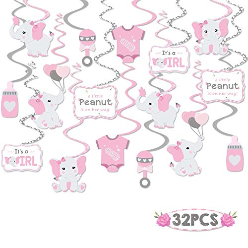 Faisichocalato 32CT Pink Elephant Little Peanut Hanging Swirls Decorations Girl Baby Shower It's A Girl Theme Party Ceiling Door Whirls Streamers for Pink Elephant Theme Party Birthday Party Supplies (Girl Baby Shower Themes Pink And Purple)