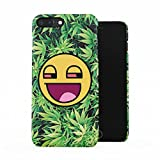 Stoned Smiley Stoner Vaper Face Smoke Weed Pattern Plastic Phone Snap On Back Case Cover Shell For iPhone 7 Plus & iPhone 8 Plus