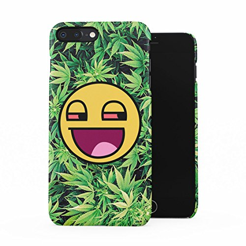 Stoned Smiley Stoner Vaper Face Smoke Weed Pattern Plastic Phone Snap On Back Case Cover Shell Compatible with iPhone 7 Plus & iPhone 8 Plus
