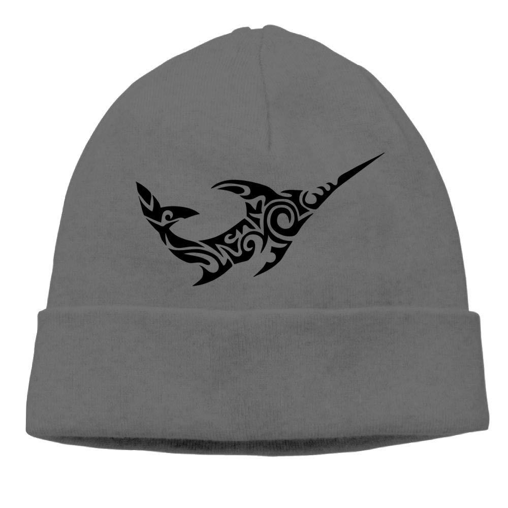 Oopp Jfhg Beanie Knit Hats Skull Cap Fun Tribal Swordfish Unisex DeepHeather