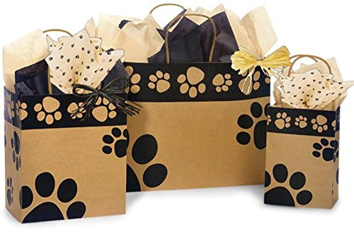 Sizes, Bundled with Coordinating Tissue Paper and Raffia Ribbon (Kraft Paws) (Band Raffia)