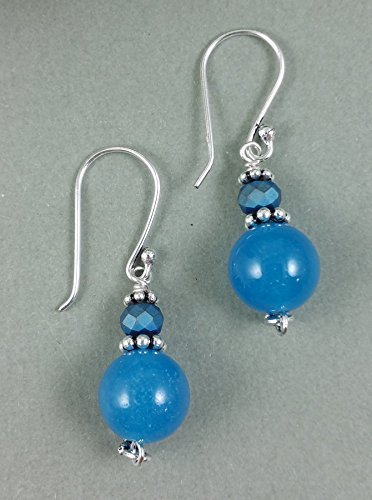 Jade Evenings Womens Dress (Blue Candy Jade Gemstones Sterling Silver Earrings with Matte Sapphire Blue Crystals)