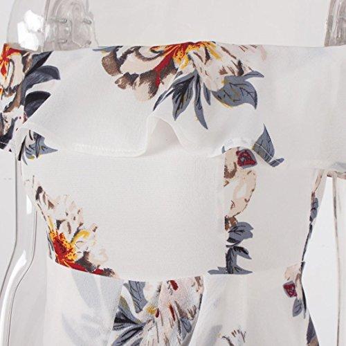 OverDose mujer atractivo vestido sin hombros de la flora de impresión fuera vestidos Blanco